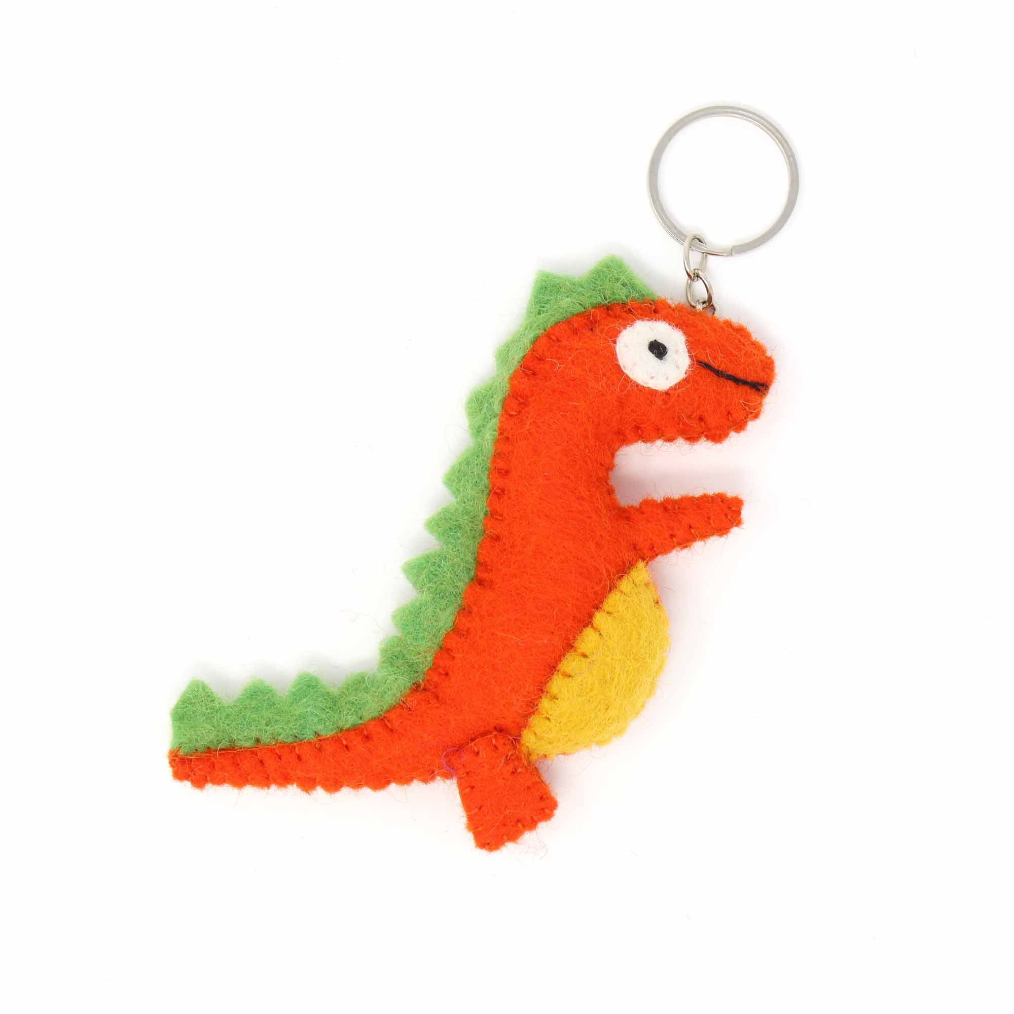 Hand Crafted Felt Keychain from Nepal: T-Rex, Green