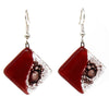 Rhombus Glass Dangle Earrings - Posh Plum