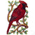 "Cardinal Bird on Branch Painted Haitian Steel Drum Wall Art, 13"" x 8"""
