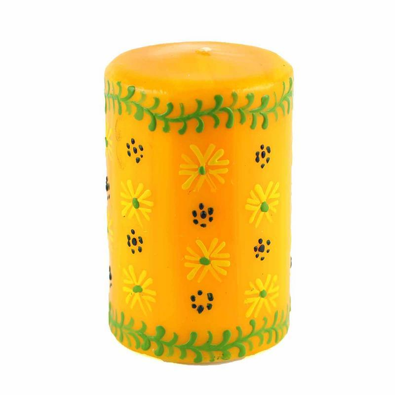 "Hand Painted Candles in Yellow ""Masika"" Design (pillar)"