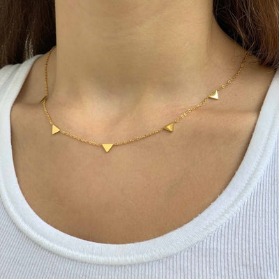 Necklace: 14k Gold Plated Triangle Pendants with Chain