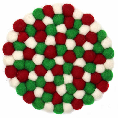 Felt Ball Trivet: White Christmas