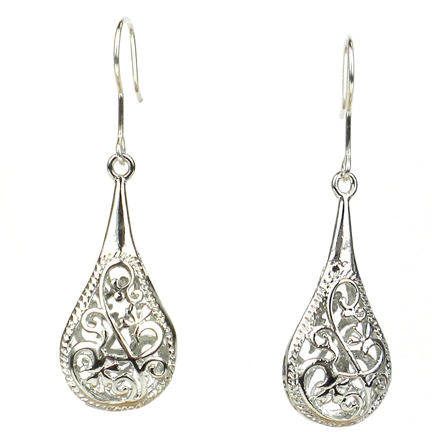 Silver Filigree Rain Earrings