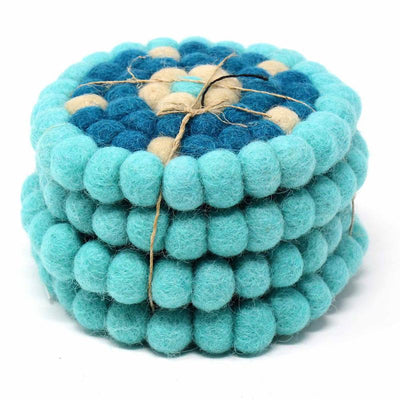 Felt Ball Coasters: 4-pack, Flower Turquoise