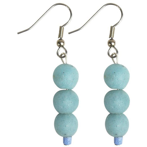 Global Mamas Glass Pearls Earrings Light Blue - Global Mamas