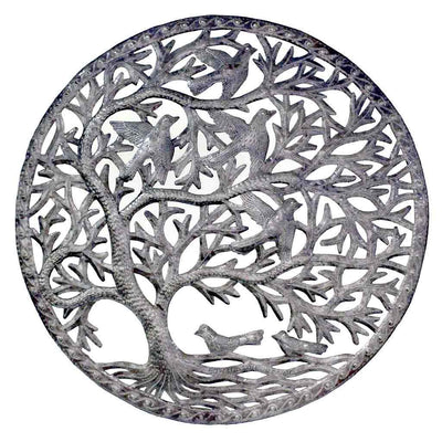 Stormy Tree of Life Ringed Haitian Steel Drum Wall Art, 24""