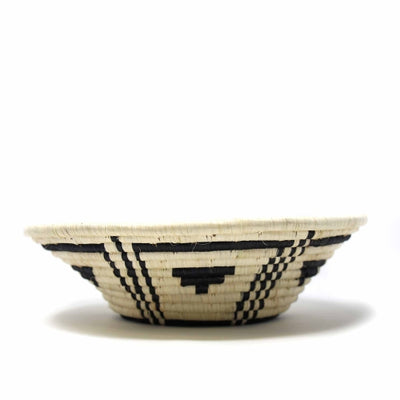 Fruit Basket, Geometric Pattern in Natural/Black