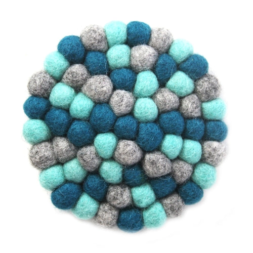 Hand Crafted Felt Ball Trivets from Nepal: Round Chakra, Light Blues