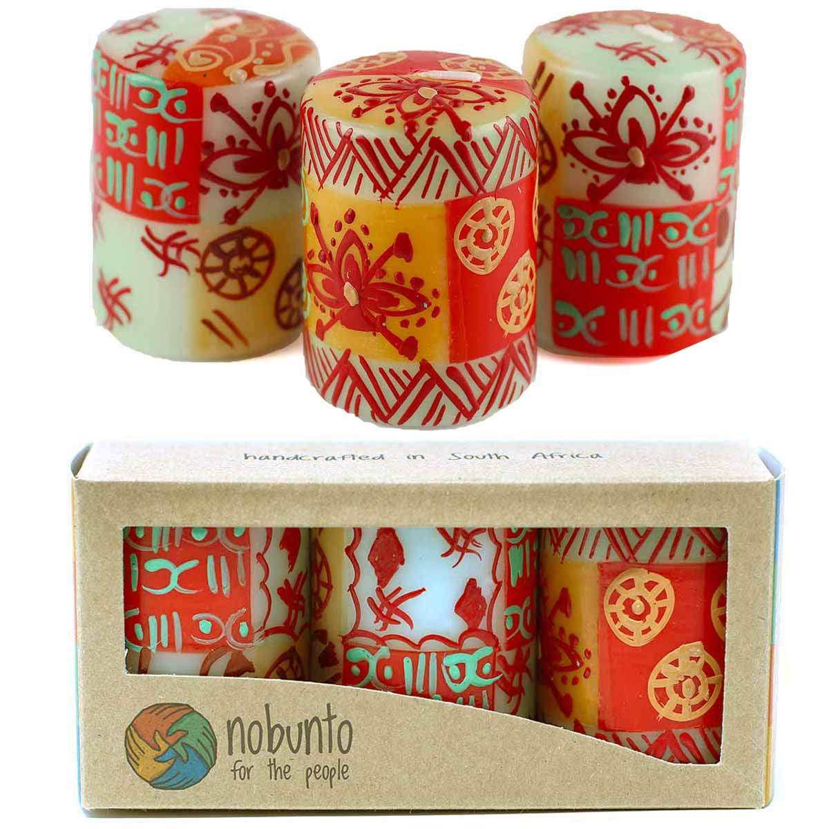 Unscented Hand-Painted Votive Candles, Boxed Set of 3 (Owoduni Design)
