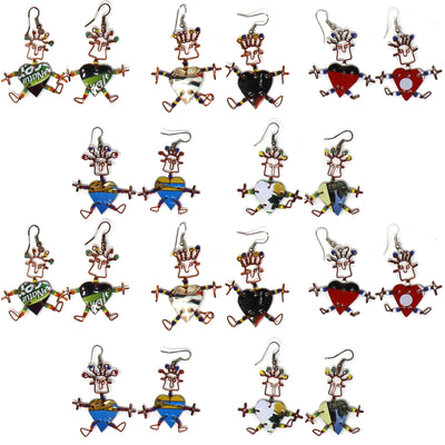 Set of 10 Dancing Heart Earrings in Various Colors