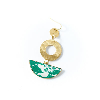 Ria Earrings - Green Slice