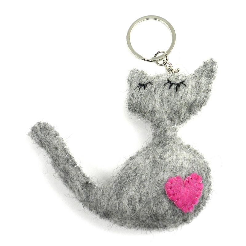 Hand Crafted Felt from Nepal: Key Chain, Heart Cat - Gray