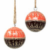 Mango Wood Ornament, Two-Tone Floral Design, Set of 2