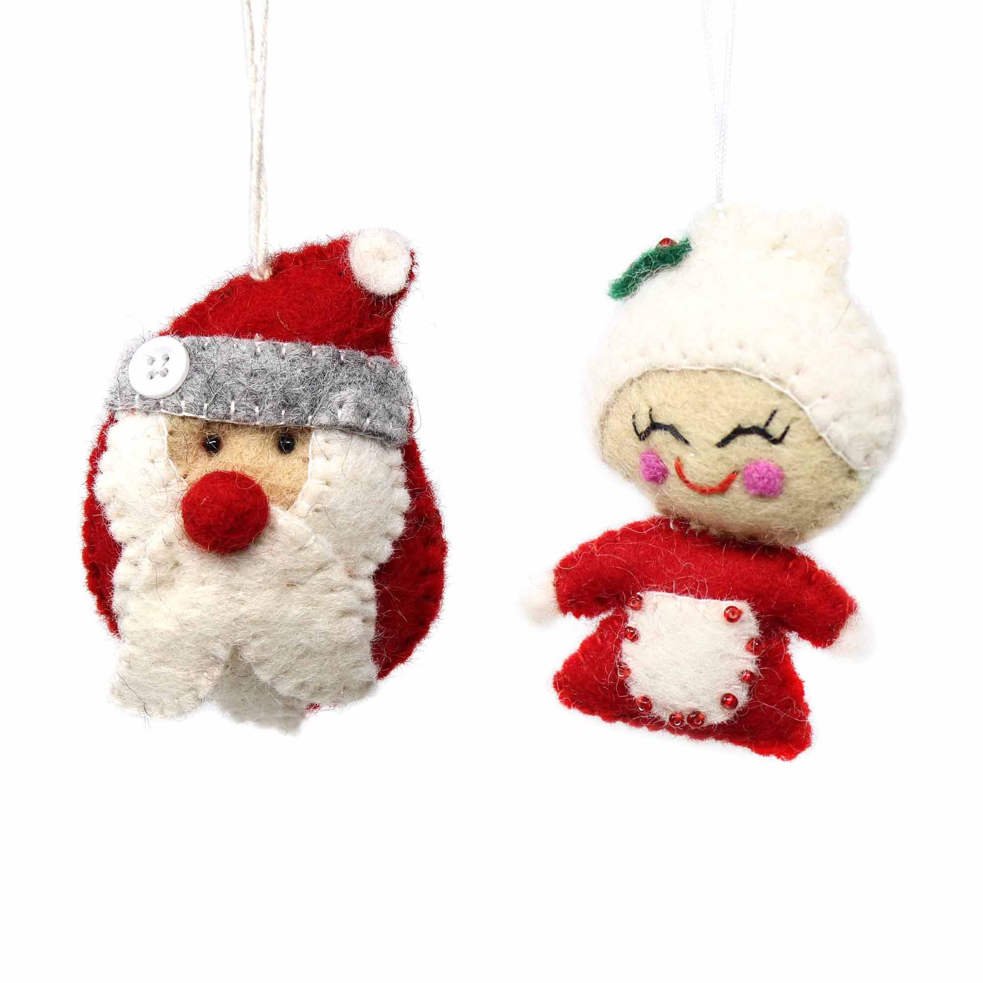 Santa Claus & Mrs. Claus Felt Ornament, Set of 2