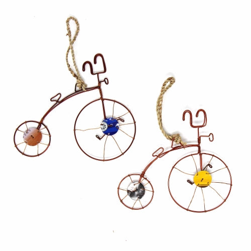 Recycled Wire Old-Fashioned Bicycle Ornament, Set of 2