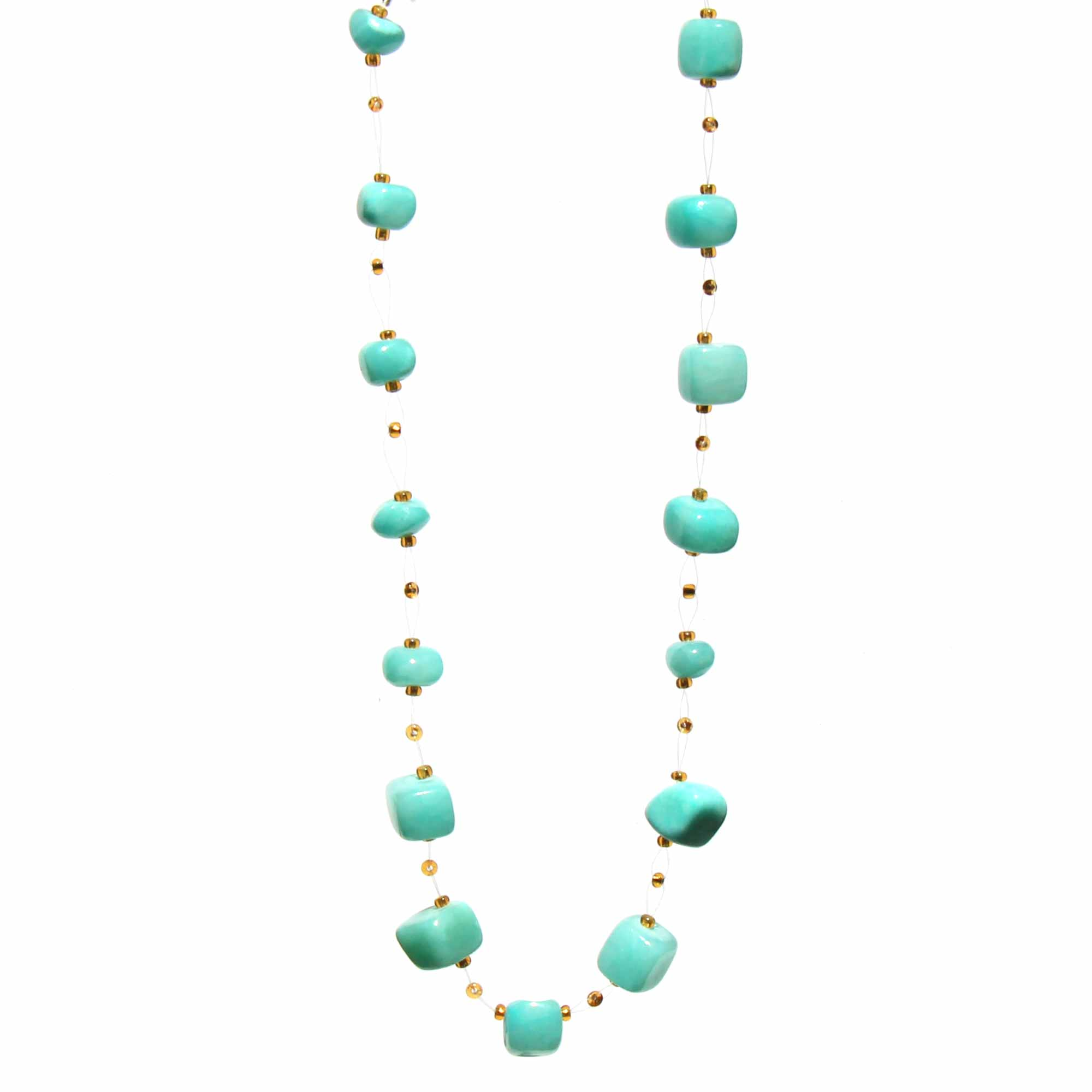Floating Stone & Maasai Bead Necklace, Aquamarine Blue