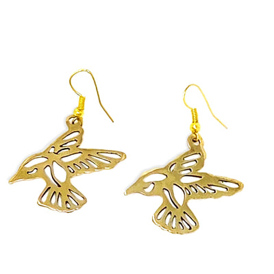 Tumbaga Gold Birds in Flight Drop Earrings