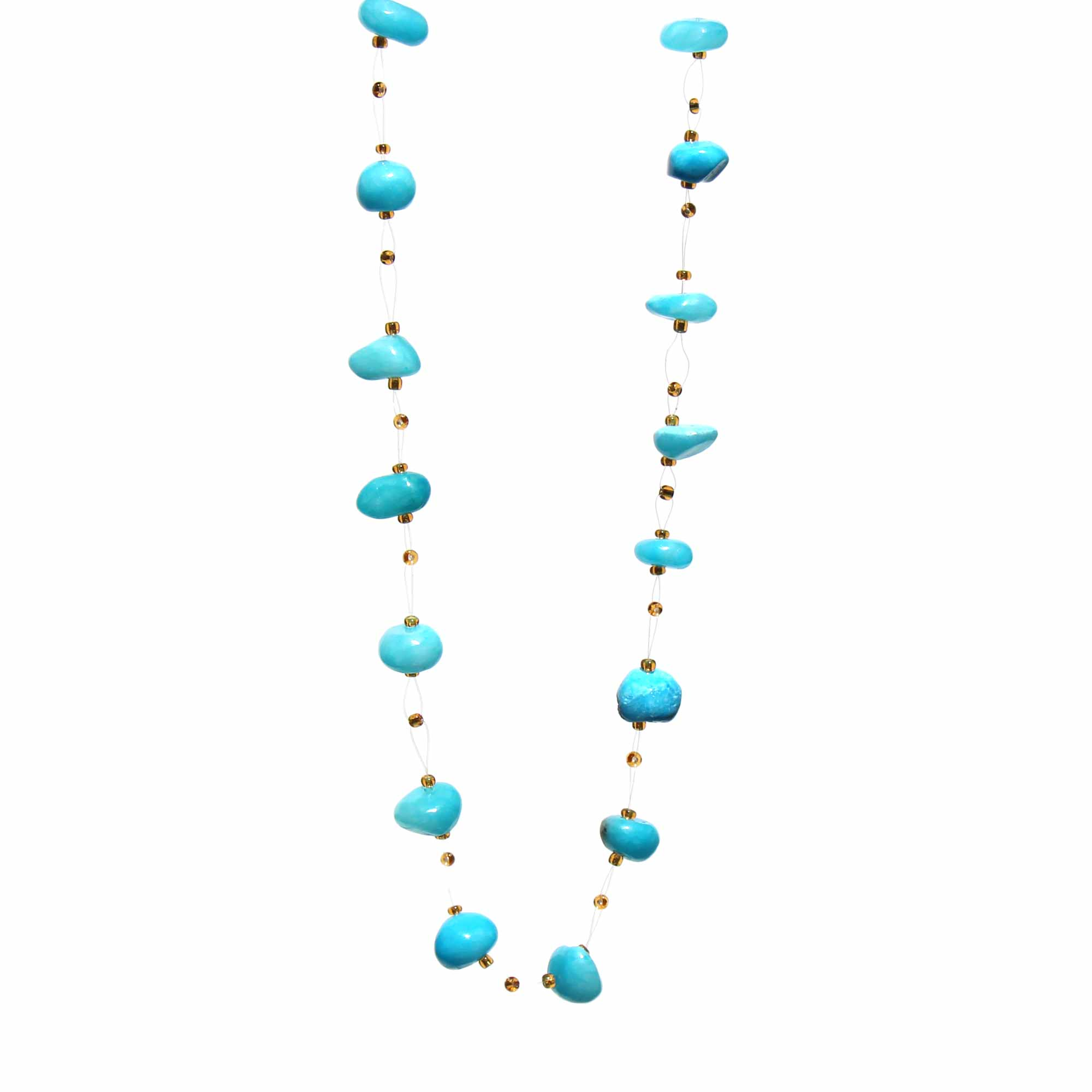 Floating Stone and Maasai Bead Necklace, Turquoise