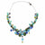 Glass Bead Drop Necklace, Green & Blue