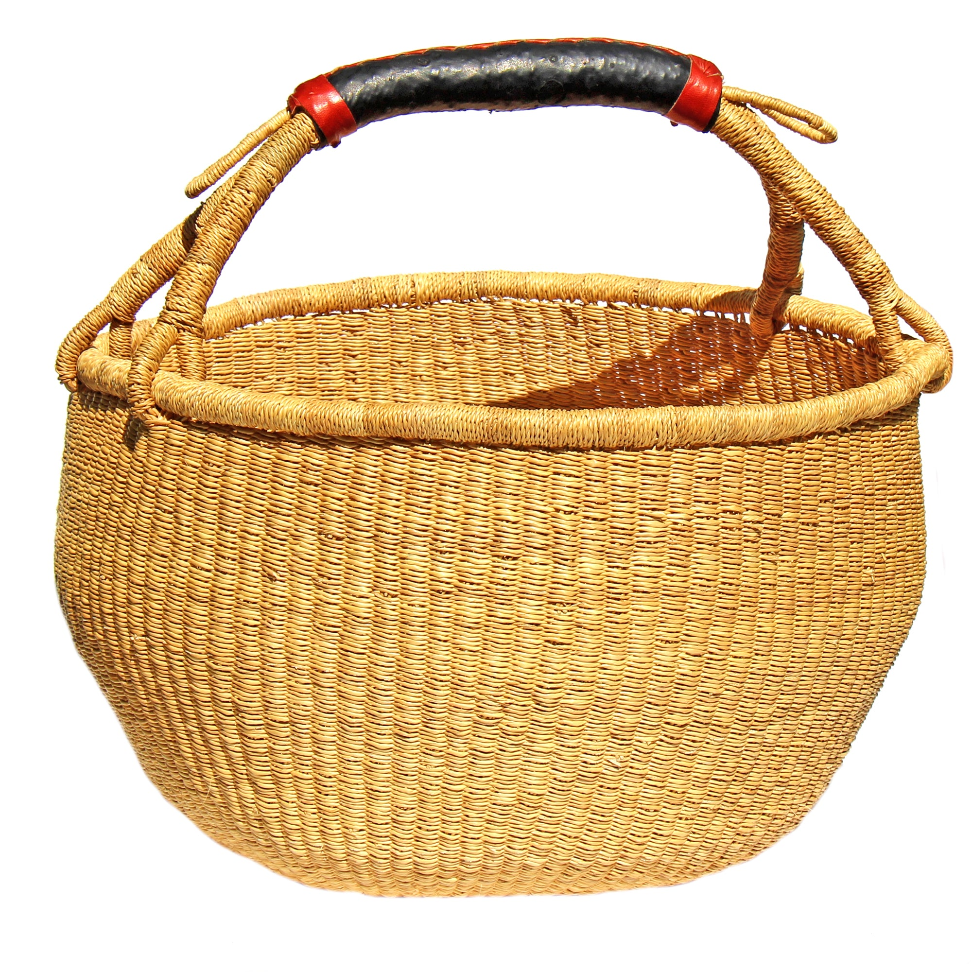 Bolga Market Basket, Extra Large Natural with Neutral Handles