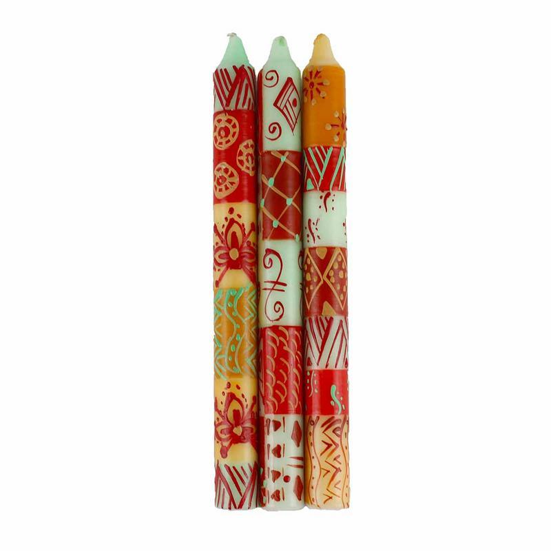 "Hand Painted Candles in ""Owoduni"" Design (three tapers)"