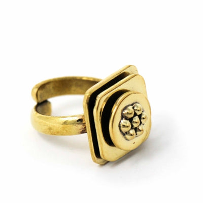 Floral Abstract Adjustable Brass Ring