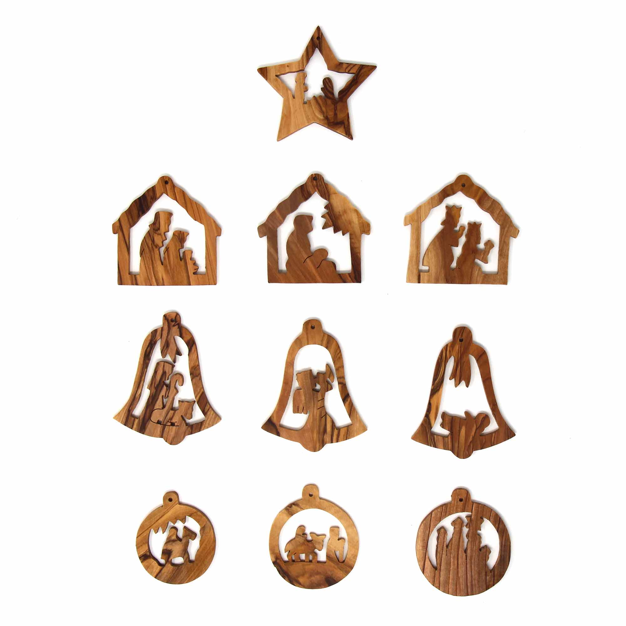 Set of 10 Olive Wood Ornaments - Nativities