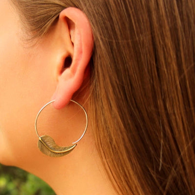 Brass Leaf Design Spiral Earrings