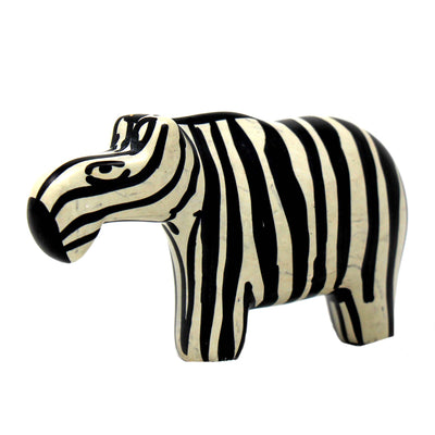 Yin-Yang Zebra Soapstone Sculptures, Set of 2