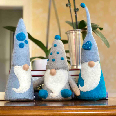 Handmade Felt Winter Blues Gnome Trio Set