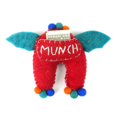 Hand Felted One-Eyed Red Tooth Monster with Wings