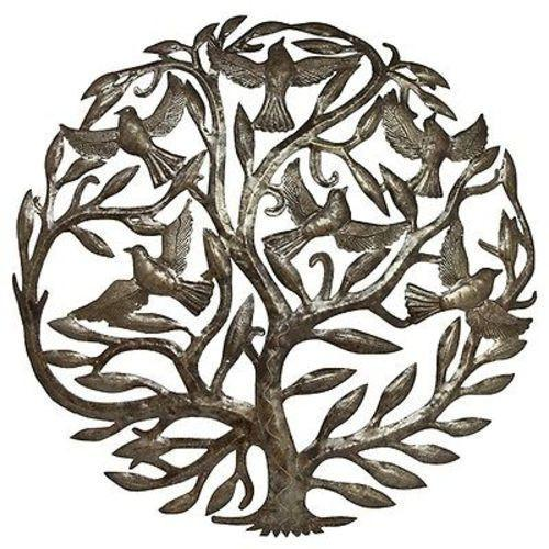 Tree of Life and Birds in Flight Haitian Steel Drum Wall Art, 24""