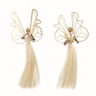Set of 2 3.5in Sisal Angel Ornaments - Musical