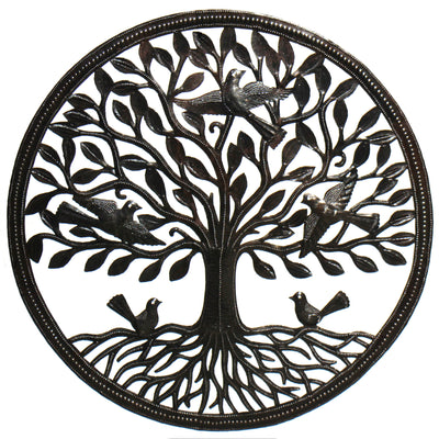 Birds on Roots Tree of Life Ringed Haitian Steel Drum Wall Art, 23""