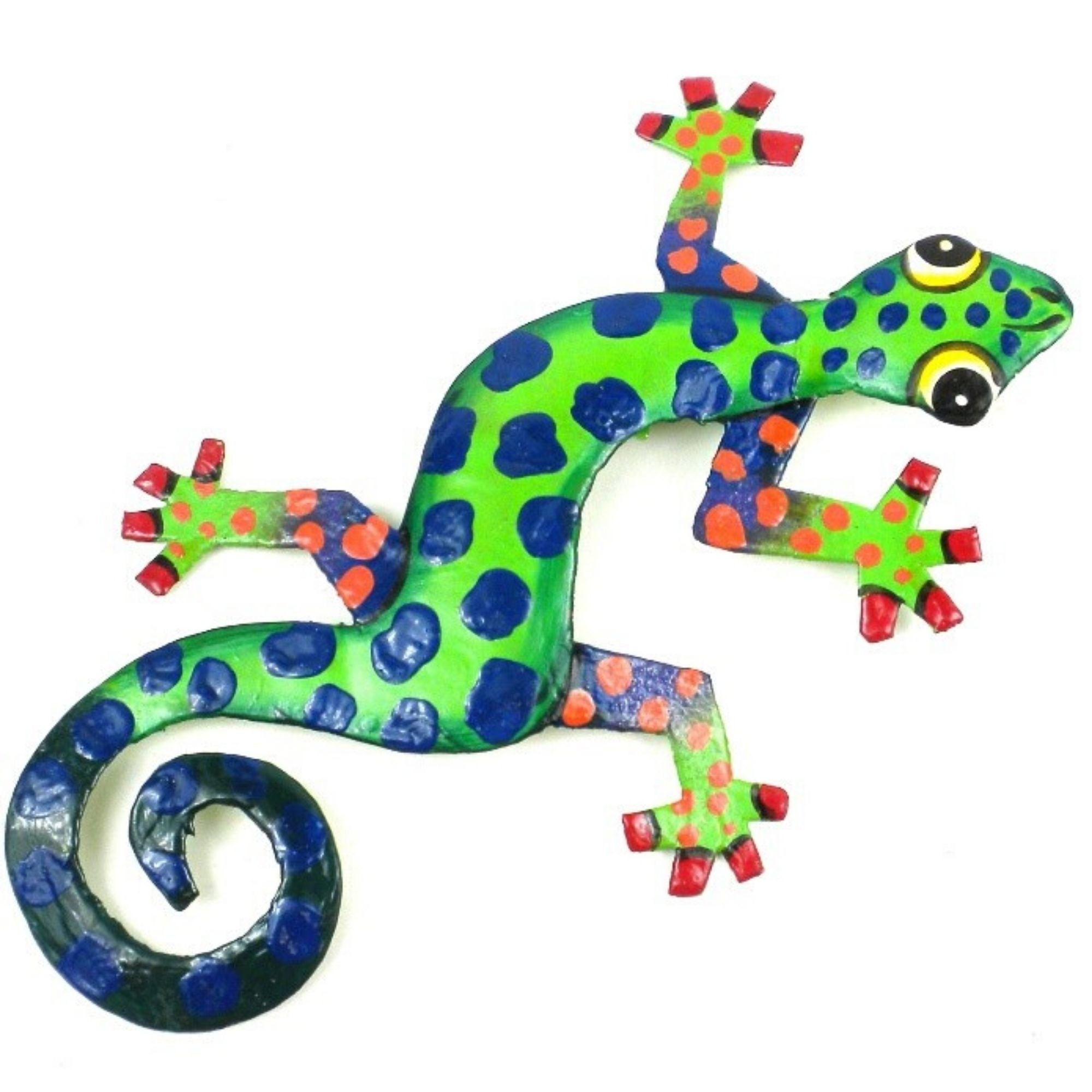 "8"" Painted Gecko Recycled Haitian Metal Wall Art Blue Green, Green Back with Blue Tail"