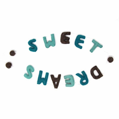 Hand Crafted Felt from Nepal: Sweet Dreams Garland, Grey/Blue
