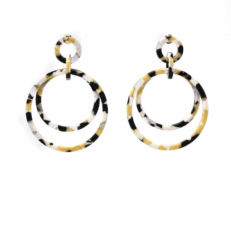 Light Blonde Tortoise Shell Double Circle Drop Earrings
