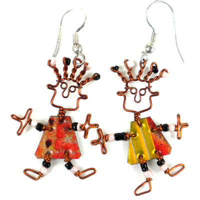 Set of 10 Dancing Girl Earrings with Tin Can Body