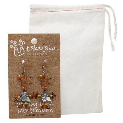 Tin Dancing Girl Earrings with Linen Bag - The Takataka Collection