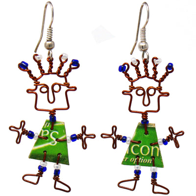 Recycled Phone Card Dancing Girl Earrings with Linen Gift Bag
