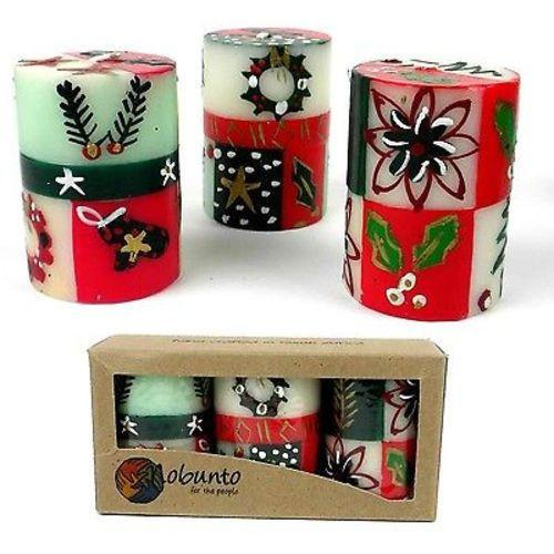 Unscented Christmas Hand-Painted Votive Candles Boxed Set of 3 (Ukhisimusi Design)