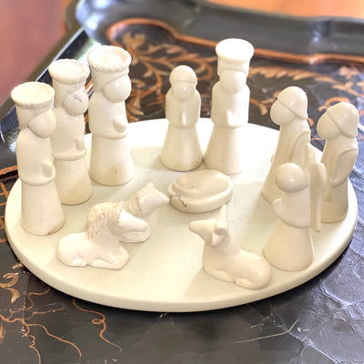 Nativity Soapstone Sculpture, 14-Piece Set (including Display Board)
