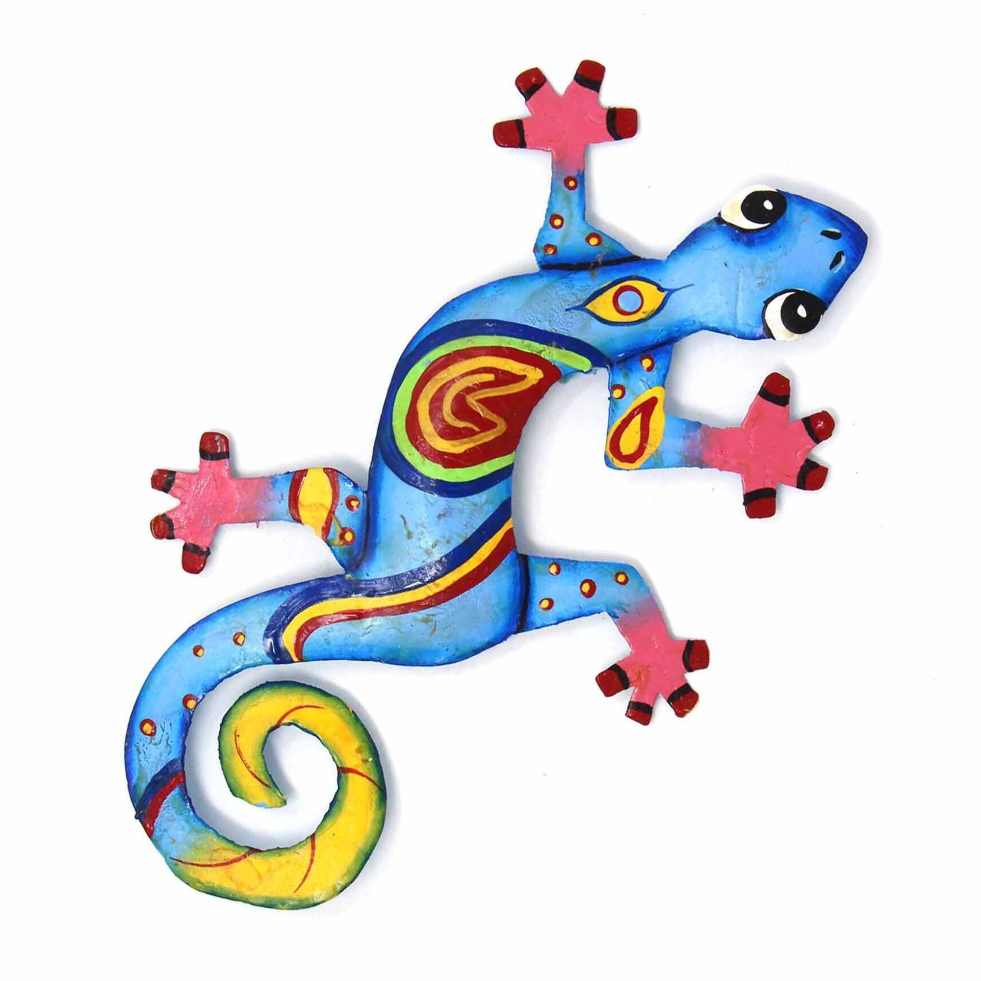 Eight inch Painted Gecko Recycled Haitian Metal Wall Art Blue-Greens Red Eye