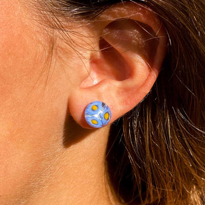 Round Glass Stud Earrings, Set of 2 (Blue & Pink Flowers)