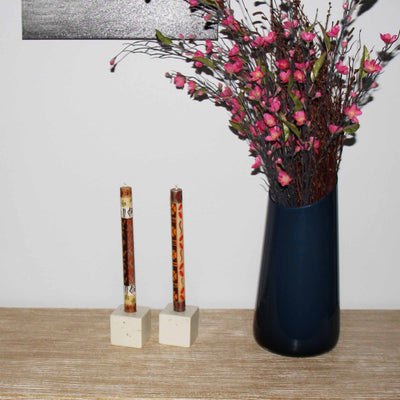 Tall Hand Painted Candles - Pair - Akono Design