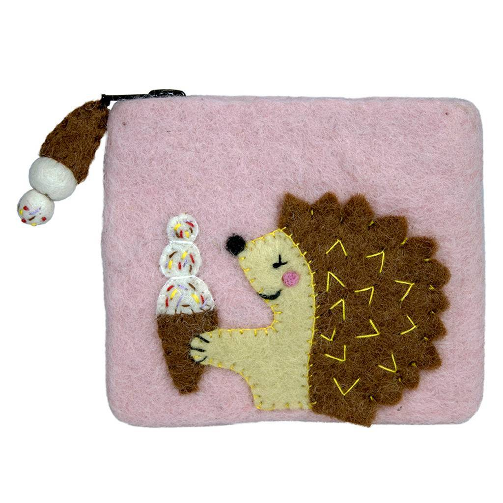 Felt Coin Purse - Hungry Hedgehog