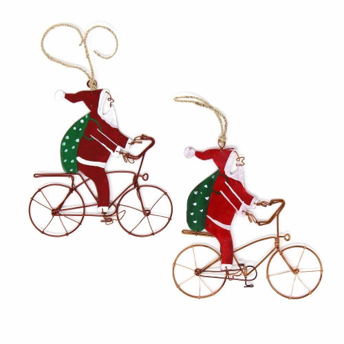 Ornaments: Bike Riding Santas, Set of Two