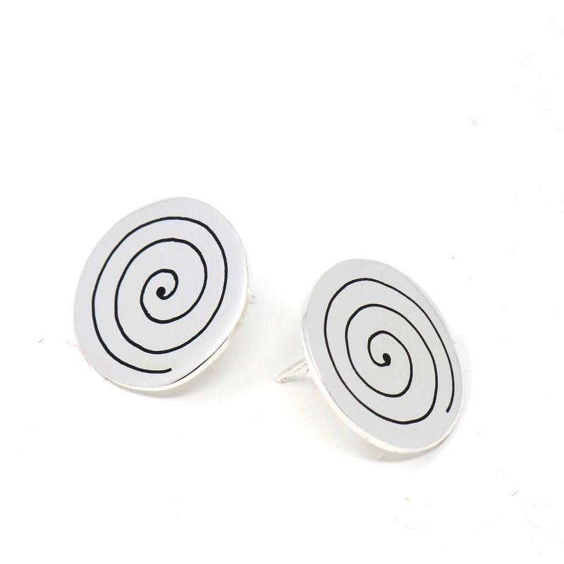 Mexican Taxco Alpaca Silver Spiral Stud Earrings