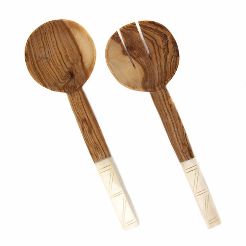 Olive Wood Salad Servers with Bone Handles, White with Square Design