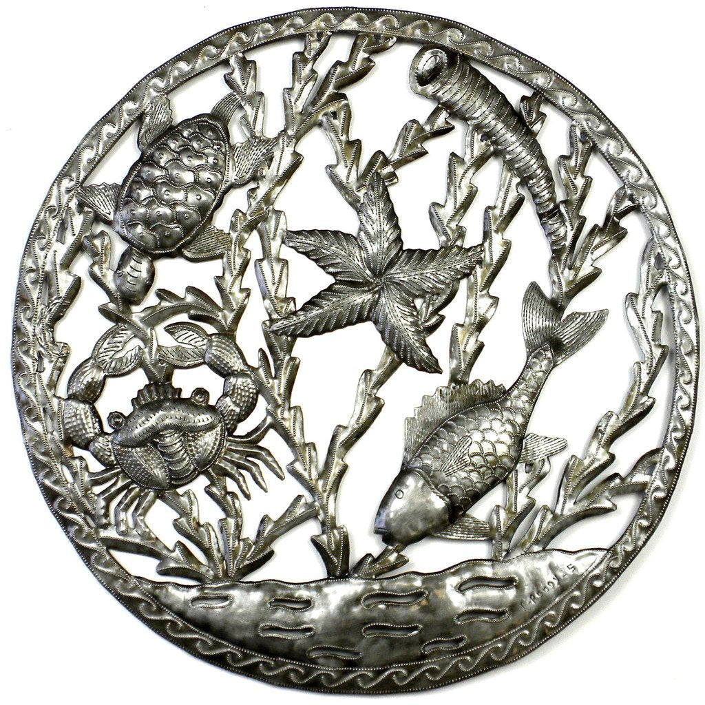 CLEARANCE Sealife Fish Crab Turtle Nautical Framed Haitian Steel Drum Wall Art, 23""